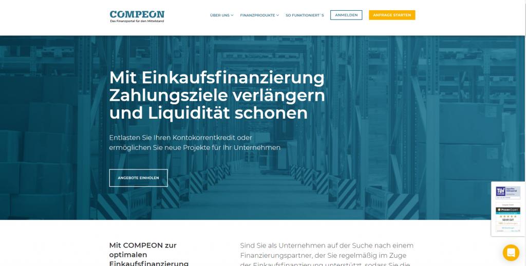 Die Website der COMPEON-Einkaufsfinanzierung.