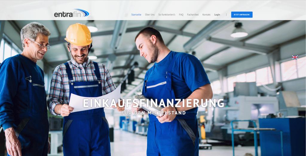 Die Website von entrafin.